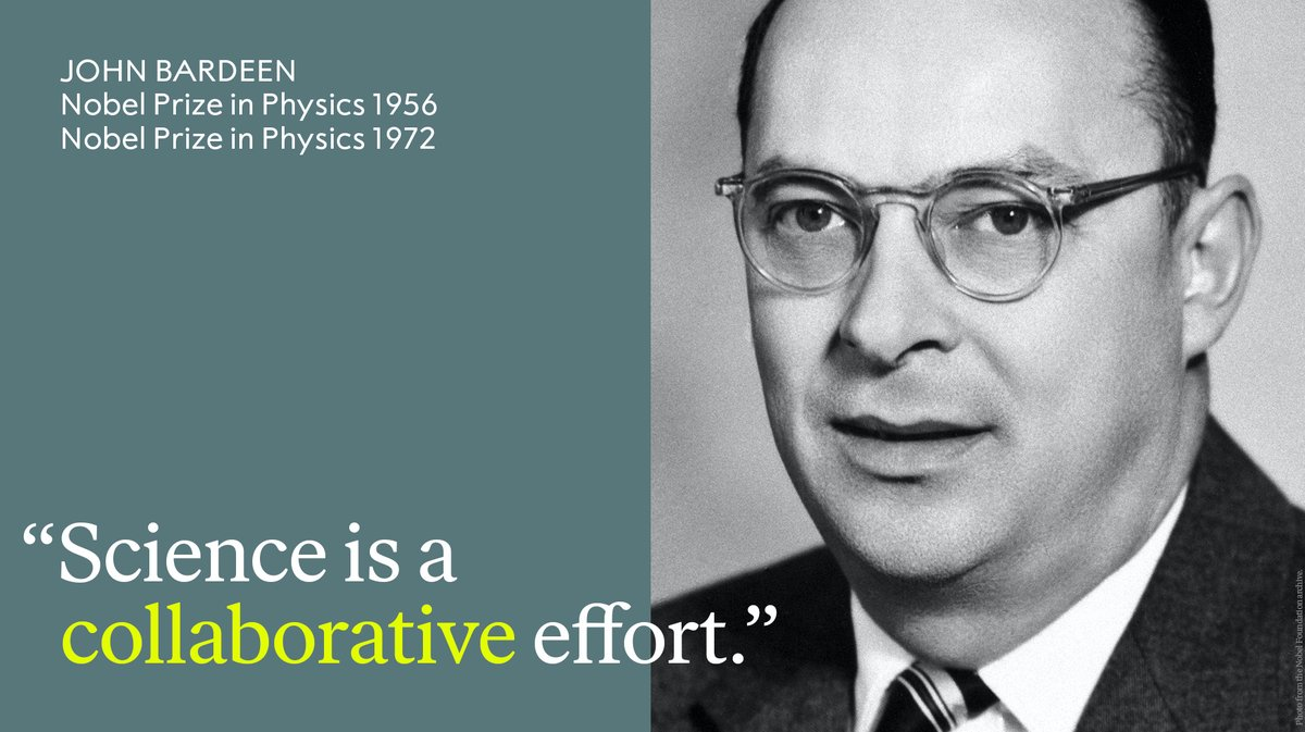 Remembering the only person who has received the #NobelPrize in Physics twice - John Bardeen.   Bardeen was born #OnThisDay in 1908. He received the Physics Prize in 1956 for the discovery of the transistor effect and in 1972 for developing the theory of superconductivity. https://t.co/c81Uj5dcO0