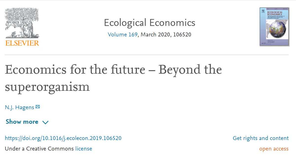 """Paper Notes   Economics for the future – Beyond the superorganismby  @NJHagens  https://www.sciencedirect.com/science/article/pii/S0921800919310067Holistic take on economics, energy, ecosystems, finance, society and much more. I.e.:""""Realize that everything connects to everything else.""""― Leonardo da Vinci.1/60"""