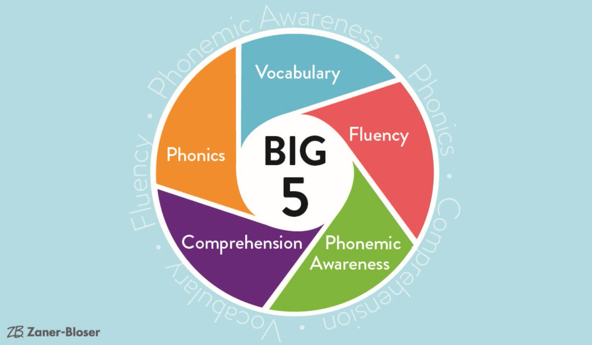 """The National Reading Panel (NICHD, 2000) identified five components of reading that are essential and effective when taught thoroughly and skillfully.  Why are these considered """"The Big 5?"""" Read all about it here: https://t.co/k1kHK6exrJ https://t.co/emczZXKvZc"""