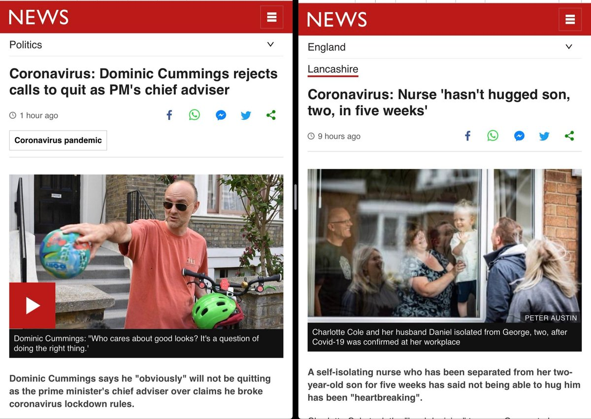 This is two seperate stories on the BBC News front page. While we all make huge sacrifices and do what we can to protect others. This government and #dominiccummimgs just dont give a fuck and and never have. #dominicsgoing