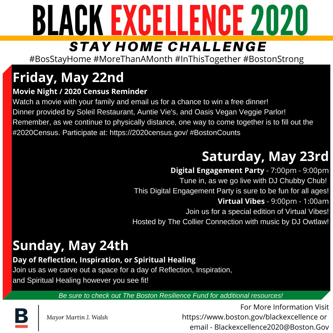 Even as we #stayhome and practice social distancing, we @cityofboston will continue to celebrate #BlackExcellence. Join us this weekend for a Stay at Home Challenge.pic.twitter.com/hjQv3RKq7R