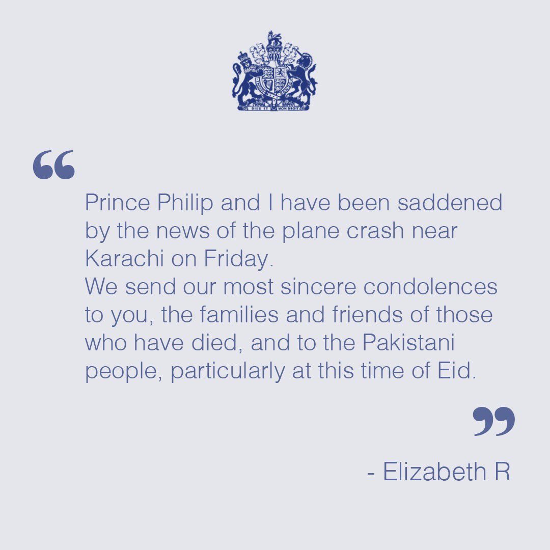 A message from Her Majesty The Queen to the President of Pakistan.