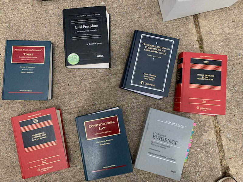 Cleaning day: what do I do with my law school books? Anyone need? https://t.co/0vCmPIQFNp