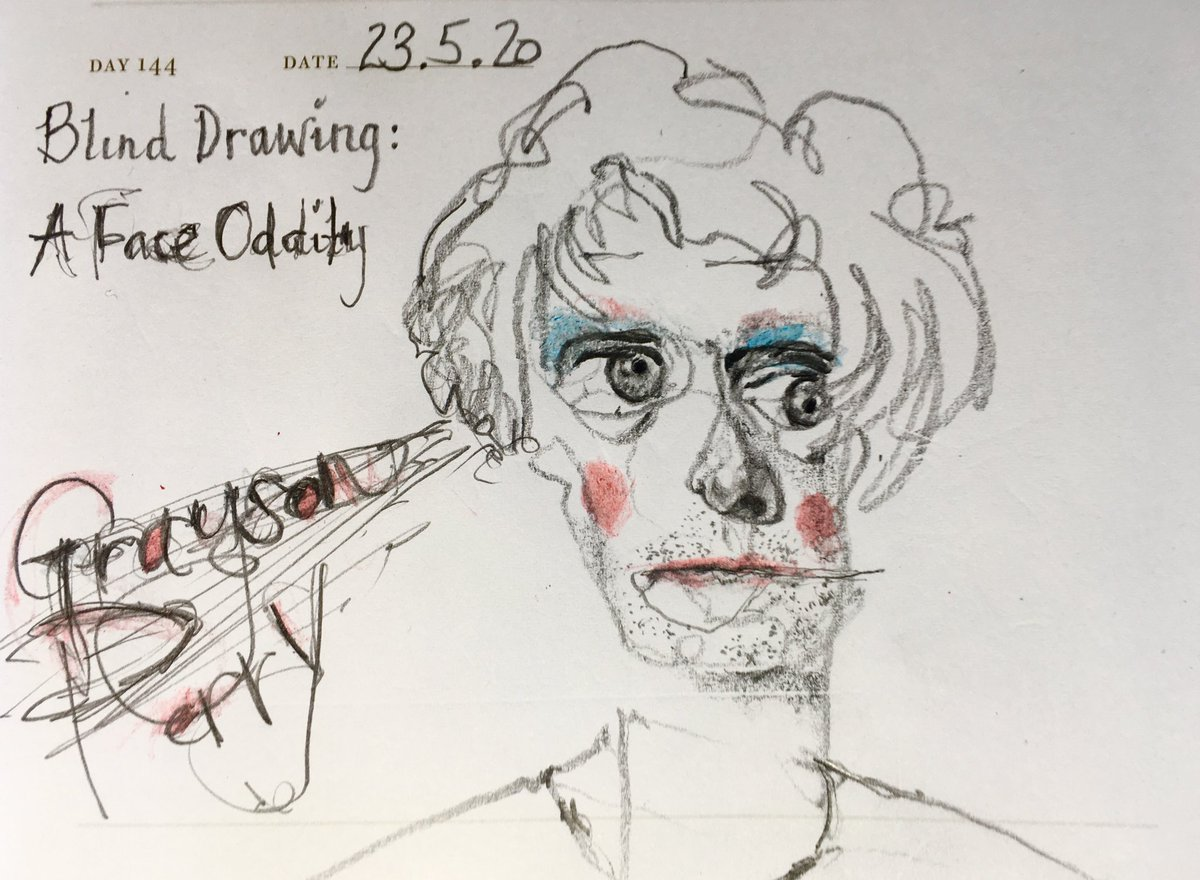 One Sketch A Day 23.5.20 Blind Drawing: A Face Oddity  'Grayson Perry' #graysonperry @alanmeasles #graysonperryartclub #c4artclub #blinddrawing #linedrawing #lockdowncity #onesketchaday #sketchbook #visualdiary #faceoddity #illustration #artpic.twitter.com/No8ghkerUq