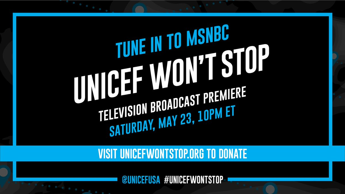 Exclusive musical performances. Humanitarian heroes. Stories from the front lines of UNICEF's #COVID19 response. If you missed #UNICEFWontStop the first time, this special @MSNBC television broadcast is a must-watch. Tune in tonight! @UNICEFUSA https://t.co/xmeuR0g65H