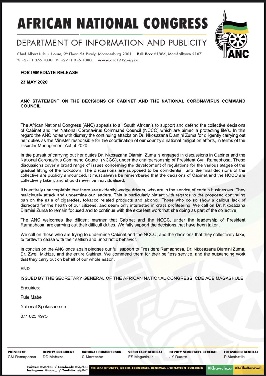 @MYANC Statement on the decisions of Cabinet and the National Coronavirus Command Council  #COVID19 https://t.co/g9vA8VU5x2