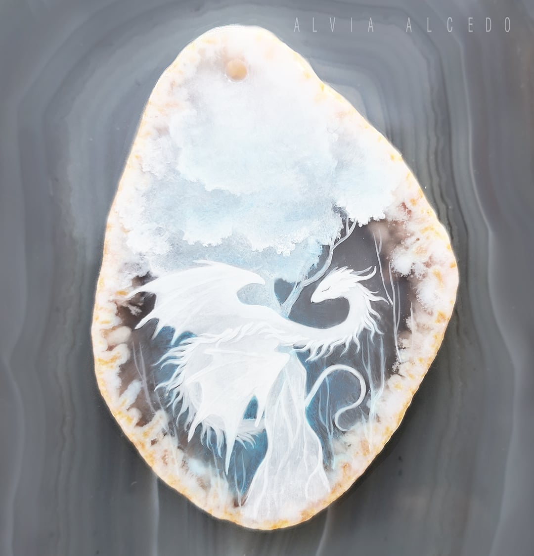 White tree  Work in progress, miniature painting on agate 5x4cm. My pendants will be available on Etsy in the middle of June, if international post will work better^^ #dragon #handmade pic.twitter.com/7v3xHEgH6e
