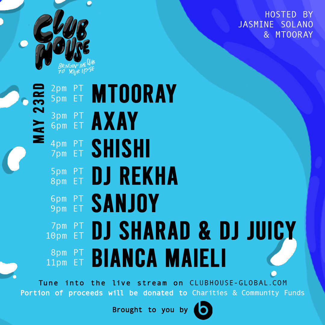 We're live! Today's @ClubHouseGlobal lineup: @Mtooray @axaymusic @tharealshishi @DJRekha @sanjoyd @Djsharad @Djjuicyny @DjBiancaMaieli #jointheclubhouse https://t.co/MfhtAogeLD https://t.co/xma1JG0pbR https://t.co/mNh29WLluO