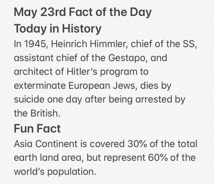 Fact of the Day for May 23rd #factofthedaypic.twitter.com/580KSbqLnG
