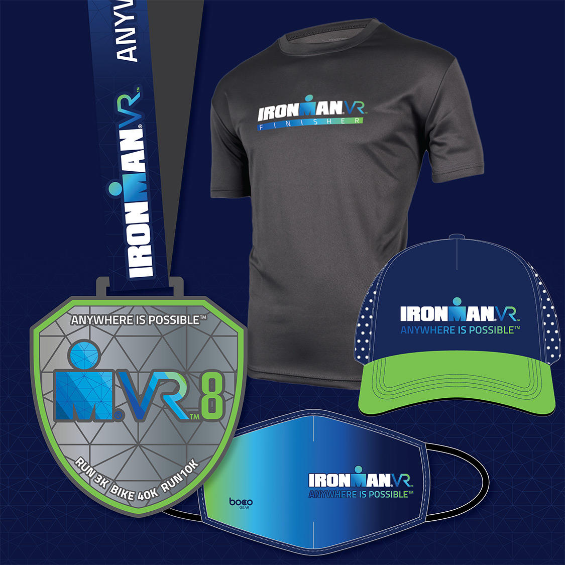 If youre in the U.S. or Europe, be sure to celebrate your #IRONMANVR8 finish with a Premium Plus Finisher Bundle, which features: 🏅 IRONMAN VR8 Finisher Medal 👕 IRONMAN VR Finisher Tee 🧢 IRONMAN VR Trucker Hat 😷 FREE Performance Face Mask