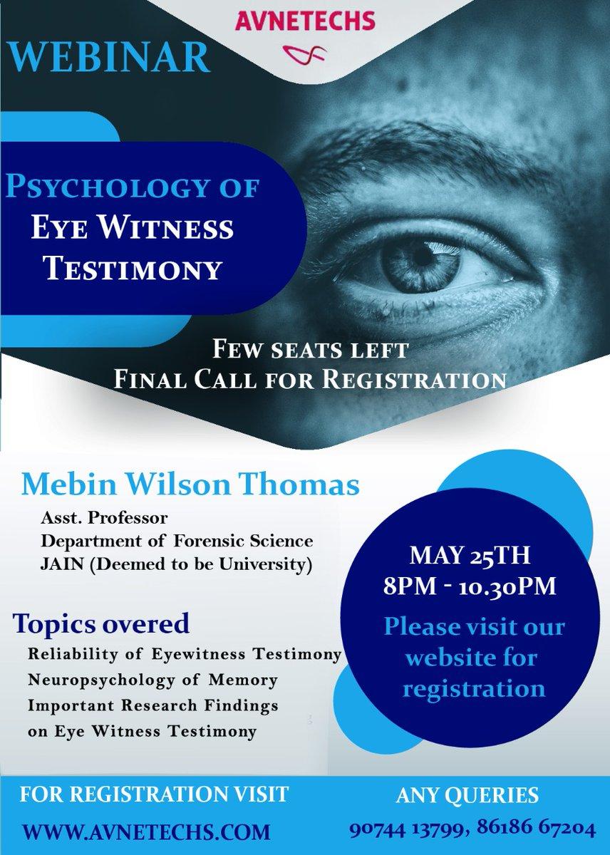 Psychology of Eye Witness Testimony  Register Now  https:// avnetechs.com      #Forensic #forensicmovie #forensics #psychology #PsychologicalThriller #serialkiller #Neurology<br>http://pic.twitter.com/3rgT85M6zT