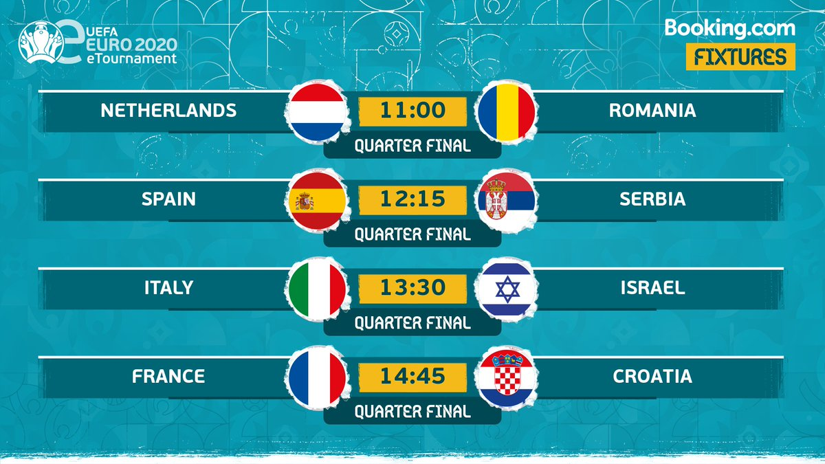 🎮 Draw made: Sundays Quarter-Finals are set! Who are you backing to lift the 🏆? #eEURO2020 | @bookingcom