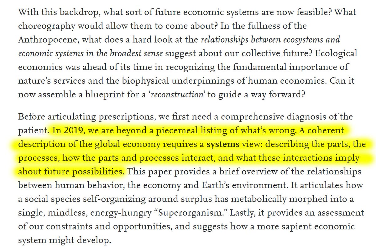 """5/60 """"In 2019, we are beyond a piecemeal listing of what's wrong. A coherent description of the global economy requires a systems view: describing the parts, the processes, how the parts and processes interact, and what these interactions imply about future possibilities."""""""