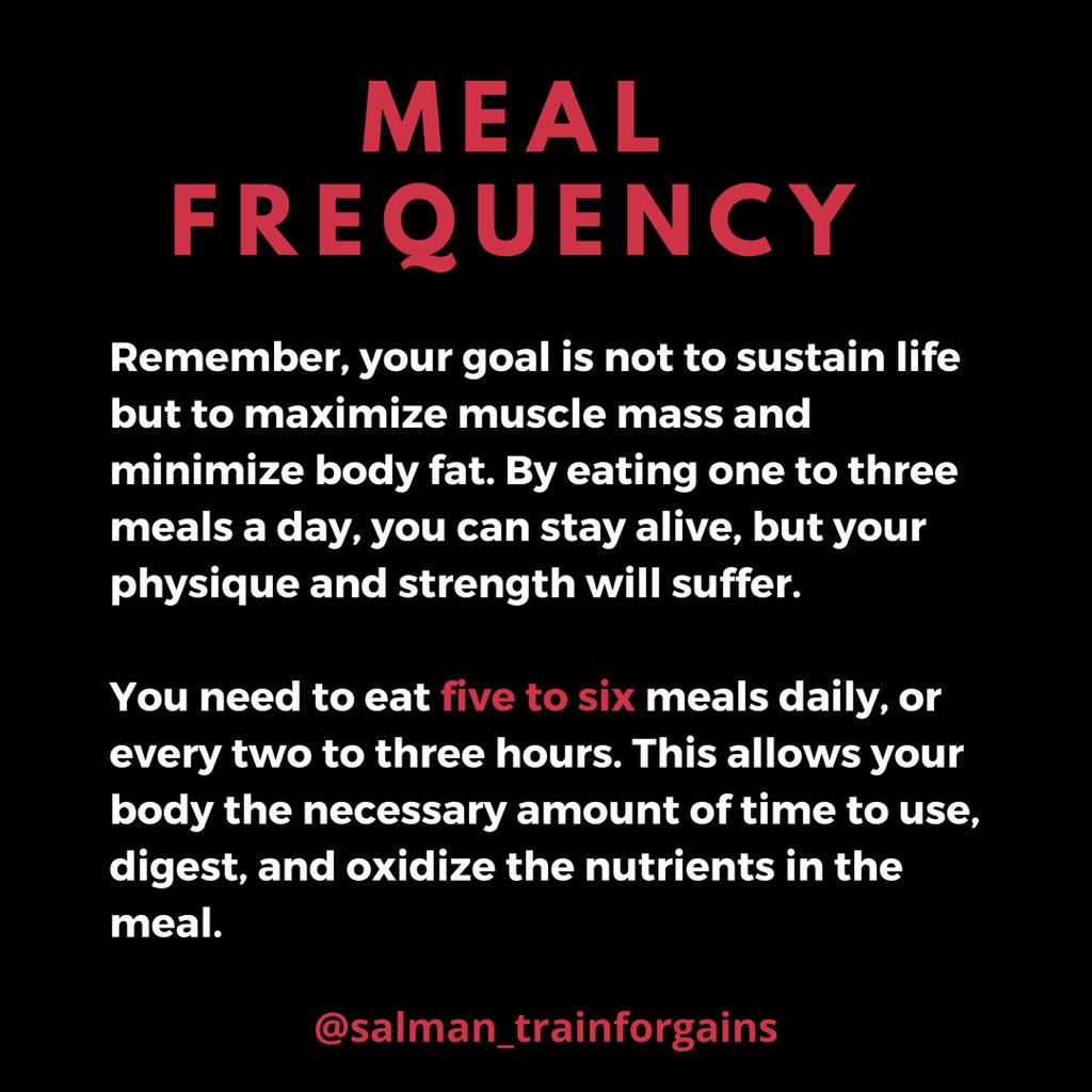 Meal Frequency   #trainforgains #bodybuilding #gains #naturalbodybuilding #mealprep #natural #physique #legs #glutes #meals #muscles #ifbb #onlinecoach #mensphysique #gymshark #fitnessMotivation #fitnessaddict #trainhard #iifym #macros #mensfitness #onlinecoaching #onlinetrainerpic.twitter.com/6iloe6XYG0