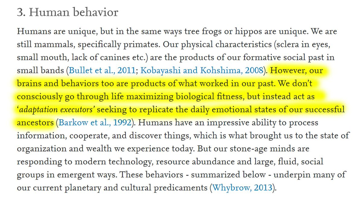 """8/60 3. Human behavior""""Our brains and behaviors are products of what worked in our past. We don't consciously go through life maximizing biological fitness, but instead act as 'adaptation executors' seeking to replicate the daily emotional states of our successful ancestors."""""""