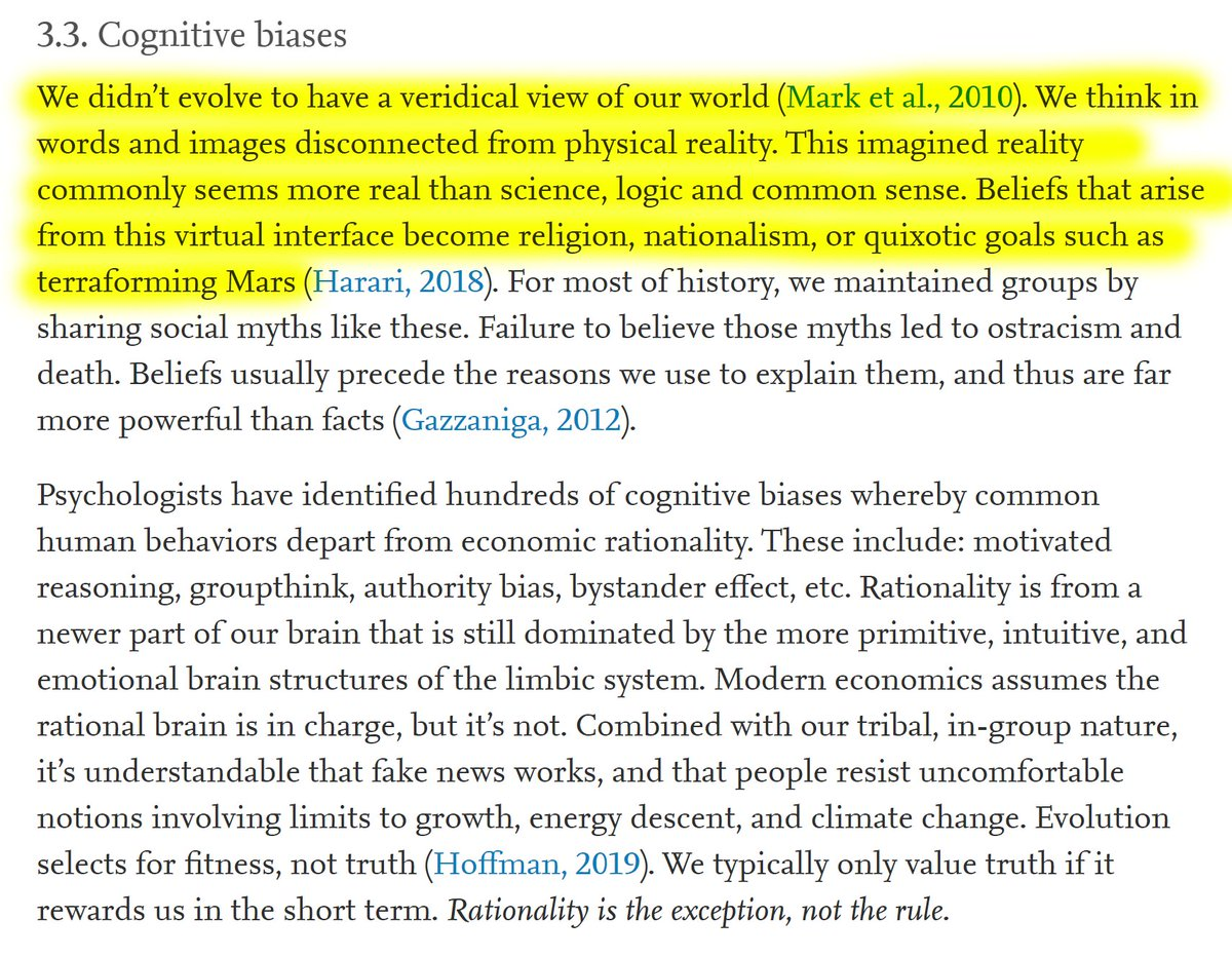 """9/60 3.3. Cognitive biases""""We didn't evolve to have a veridical view of our world (Mark et al., 2010). We think in words and images disconnected from physical reality. This imagined reality commonly seems more real than science, logic and common sense."""""""