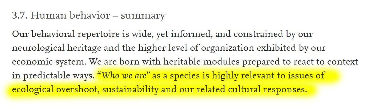 """13/60 3.7. Human behavior – summary""""""""𝘞𝘩𝘰 𝘸𝘦 𝘢𝘳𝘦"""" as a species is highly relevant to issues of ecological overshoot, sustainability and our related cultural responses."""""""
