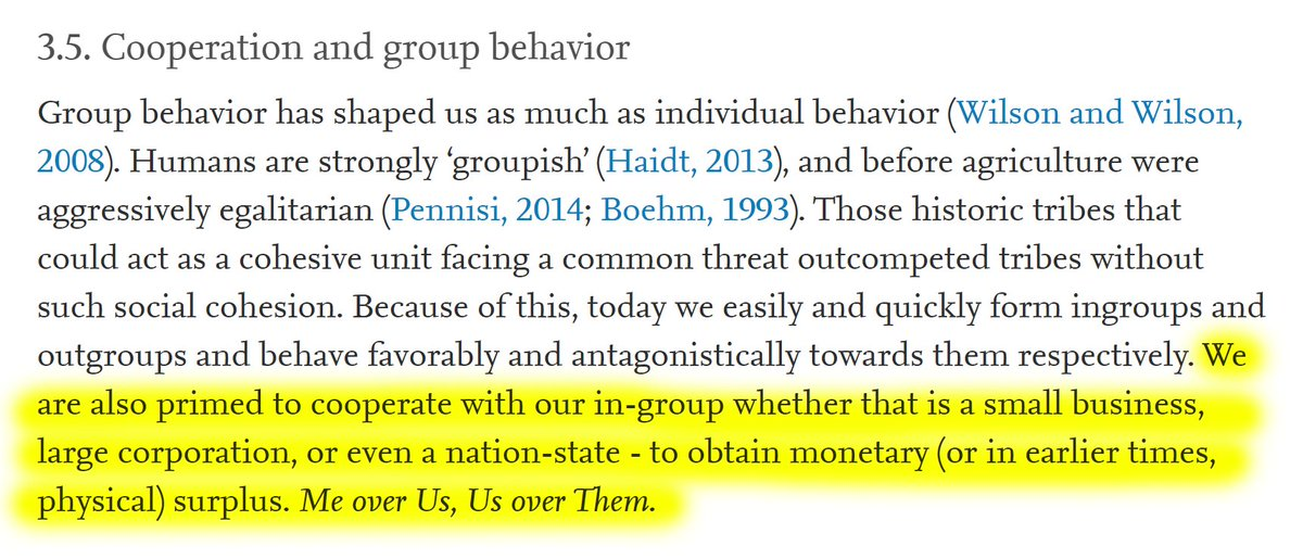 """10/60 3.5. Cooperation and group behavior""""We are primed to cooperate with our in-group whether that is a small business, large corporation, or even a nation-state - to obtain monetary (or in earlier times, physical) surplus. 𝘔𝘦 𝘰𝘷𝘦𝘳 𝘜𝘴, 𝘜𝘴 𝘰𝘷𝘦𝘳 𝘛𝘩𝘦𝘮."""""""