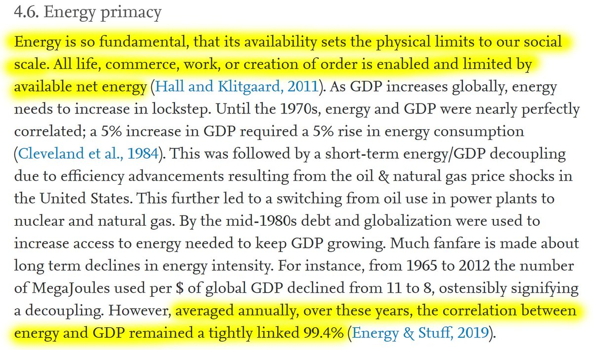 """20/60 4.6. Energy primacy""""Energy is so fundamental, that its availability sets the physical limits to our social scale.""""""""Averaged annually over decades, the correlation between energy and GDP remained a tightly linked 99.4%."""""""