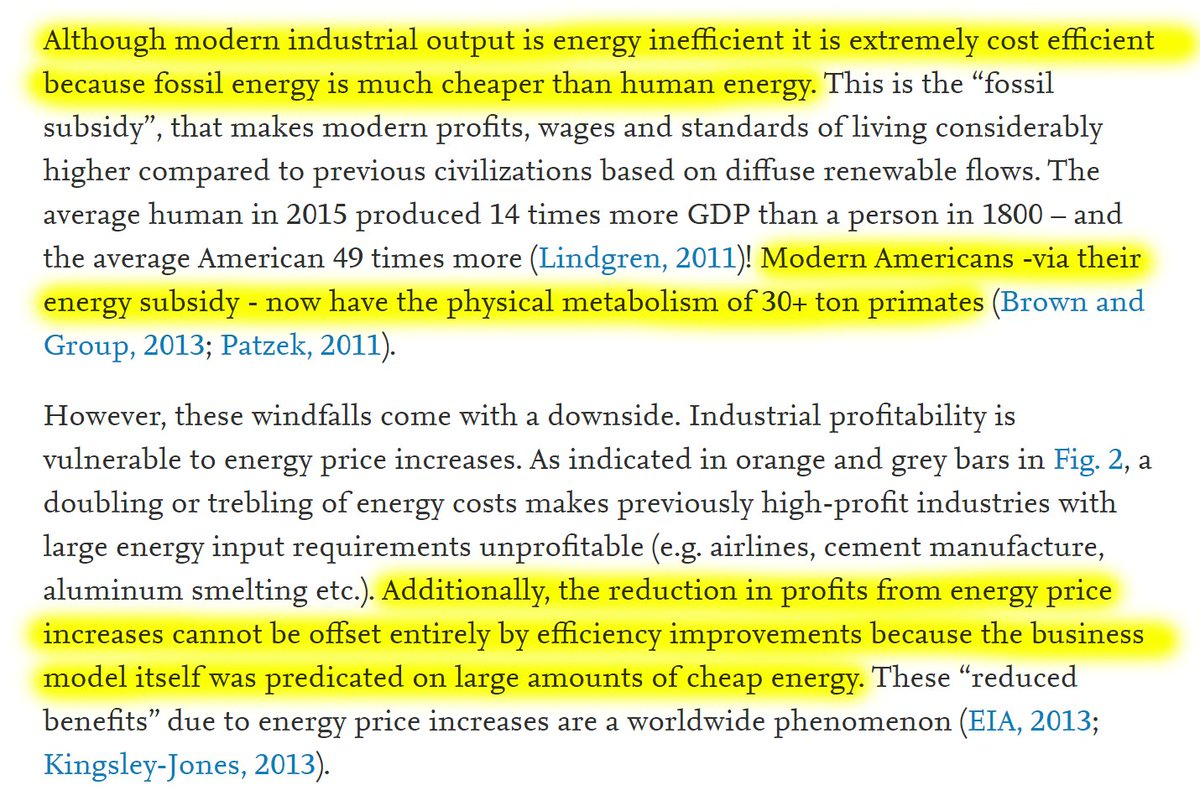 """17/60 """"Although modern industrial output is energy inefficient it is extremely cost efficient because fossil energy is much cheaper than human energy.""""""""Modern Americans - via their energy subsidy - now have the physical metabolism of 30+ ton primates."""""""