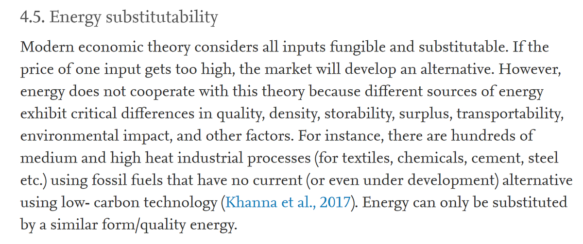 """19/60 4.5. Energy substitutability""""For instance, there are hundreds of medium and high heat industrial processes using fossil fuels that have no current (or even under development) alternative using low- carbon technology.""""I disagree here, c.f. links at the end."""