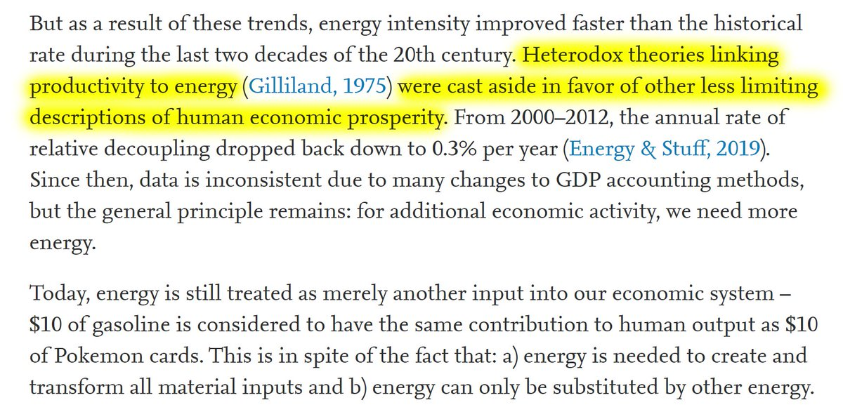 """21/60 """"Heterodox theories linking productivity to energy were cast aside in favor of other less limiting descriptions of human economic prosperity."""""""