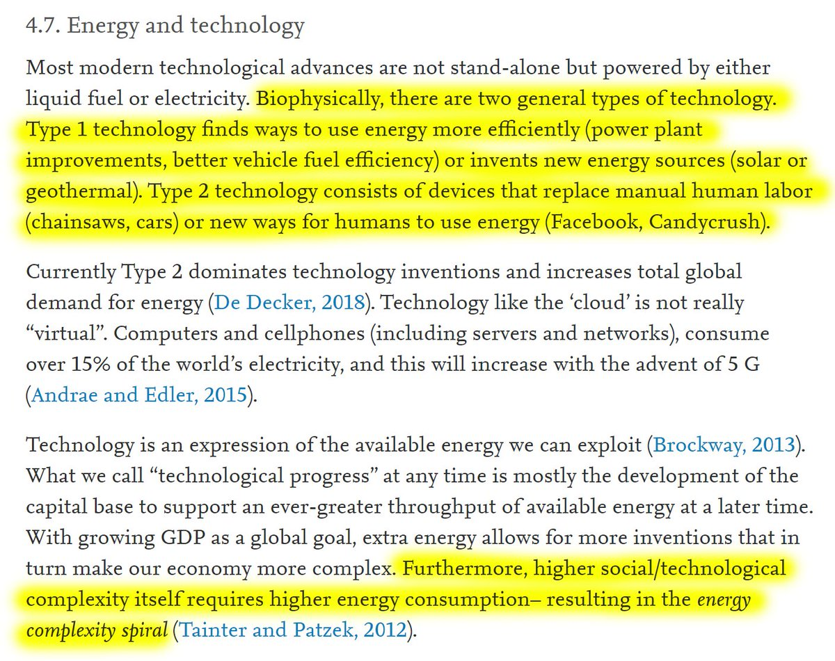 """23/60 4.7. Energy and technologyTwo general types of technology: """"Type 1 technology finds ways to use energy more efficiently or invents new energy sources. Type 2 technology consists of devices that replace manual human labor or new ways for humans to use energy."""""""