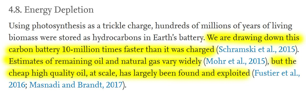 """24/60 4.8. Energy Depletion""""We are drawing down this carbon battery 10-million times faster than it was charged. Estimates of remaining oil and natural gas vary widely, but the cheap high quality oil, at scale, has largely been found and exploited."""""""