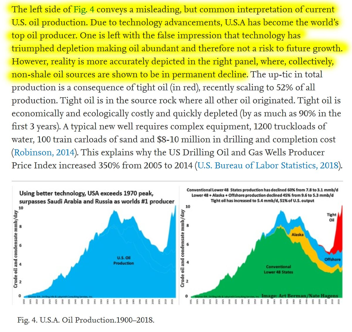 """25/60 """"One is left with the false impression that technology has triumphed depletion making oil abundant and therefore not a risk to future growth. However, reality is more accurately depicted in the right panel: non-shale oil sources are shown to be in permanent decline."""""""