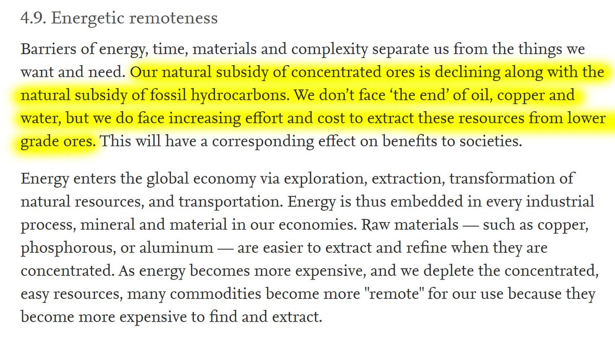 """28/60 4.9. Energetic remoteness""""Our natural subsidy of concentrated ores is declining along with the natural subsidy of fossil hydrocarbons. We don't face 'the end' of oil, copper and water, but we do face increasing effort and cost to extract these resources."""""""