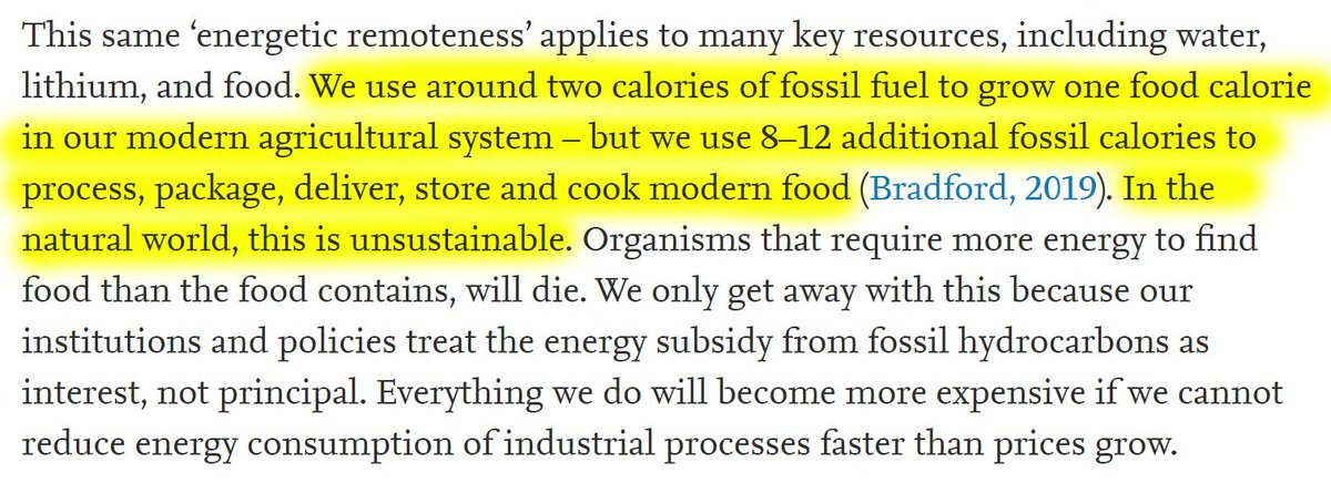 """30/60 """"We use around two calories of fossil fuel to grow one food calorie in our modern agricultural system - but we use 8-12 additional fossil calories to process, package, deliver, store and cook modern food."""""""