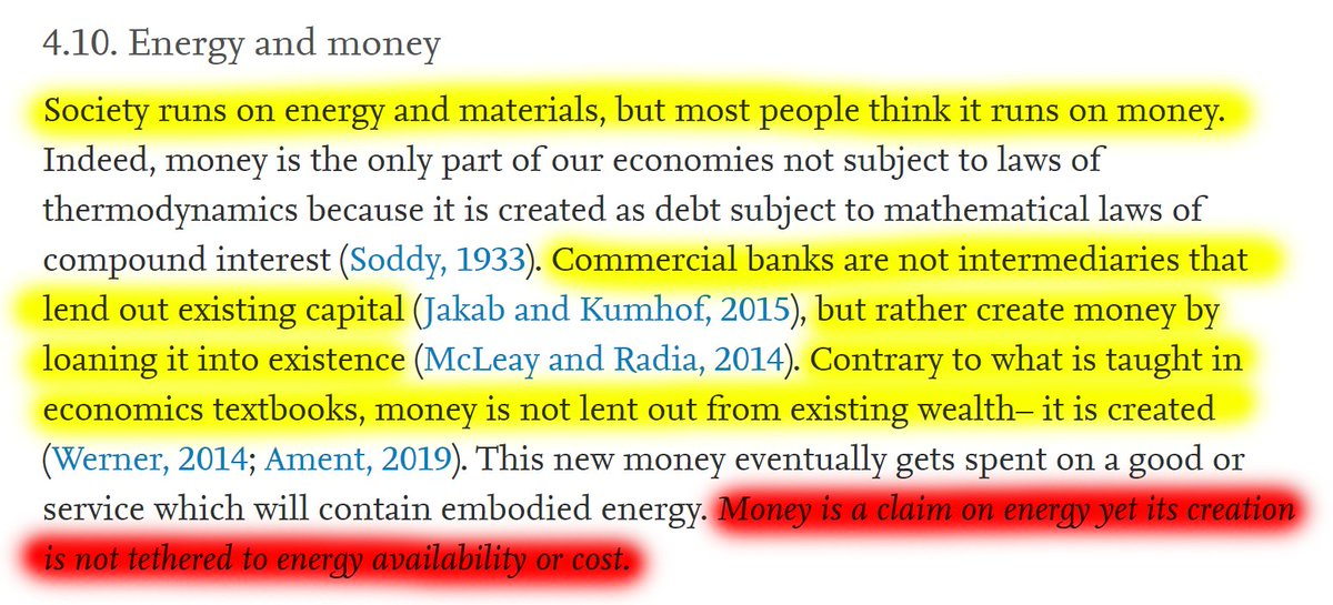 """31/60 4.10 Energy and money""""Society runs on energy and materials, but most people think it runs on money.""""""""𝘔𝘰𝘯𝘦𝘺 𝘪𝘴 𝘢 𝘤𝘭𝘢𝘪𝘮 𝘰𝘯 𝘦𝘯𝘦𝘳𝘨𝘺 𝘺𝘦𝘵 𝘪𝘵𝘴 𝘤𝘳𝘦𝘢𝘵𝘪𝘰𝘯 𝘪𝘴 𝘯𝘰𝘵 𝘵𝘦𝘵𝘩𝘦𝘳𝘦𝘥 𝘵𝘰 𝘦𝘯𝘦𝘳𝘨𝘺 𝘢𝘷𝘢𝘪𝘭𝘢𝘣𝘪𝘭𝘪𝘵𝘺 𝘰𝘳 𝘤𝘰𝘴𝘵."""""""