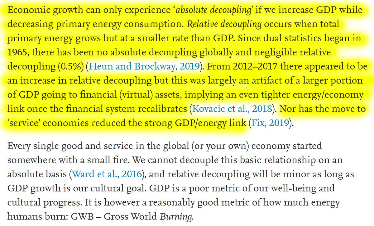 """41/60""""Economic growth can only experience 'absolute decoupling' if we increase GDP while decreasing primary energy consumption. Relative decoupling occurs when total primary energy grows but at a smaller rate than GDP.""""No relative nor absolute decoupling so far."""