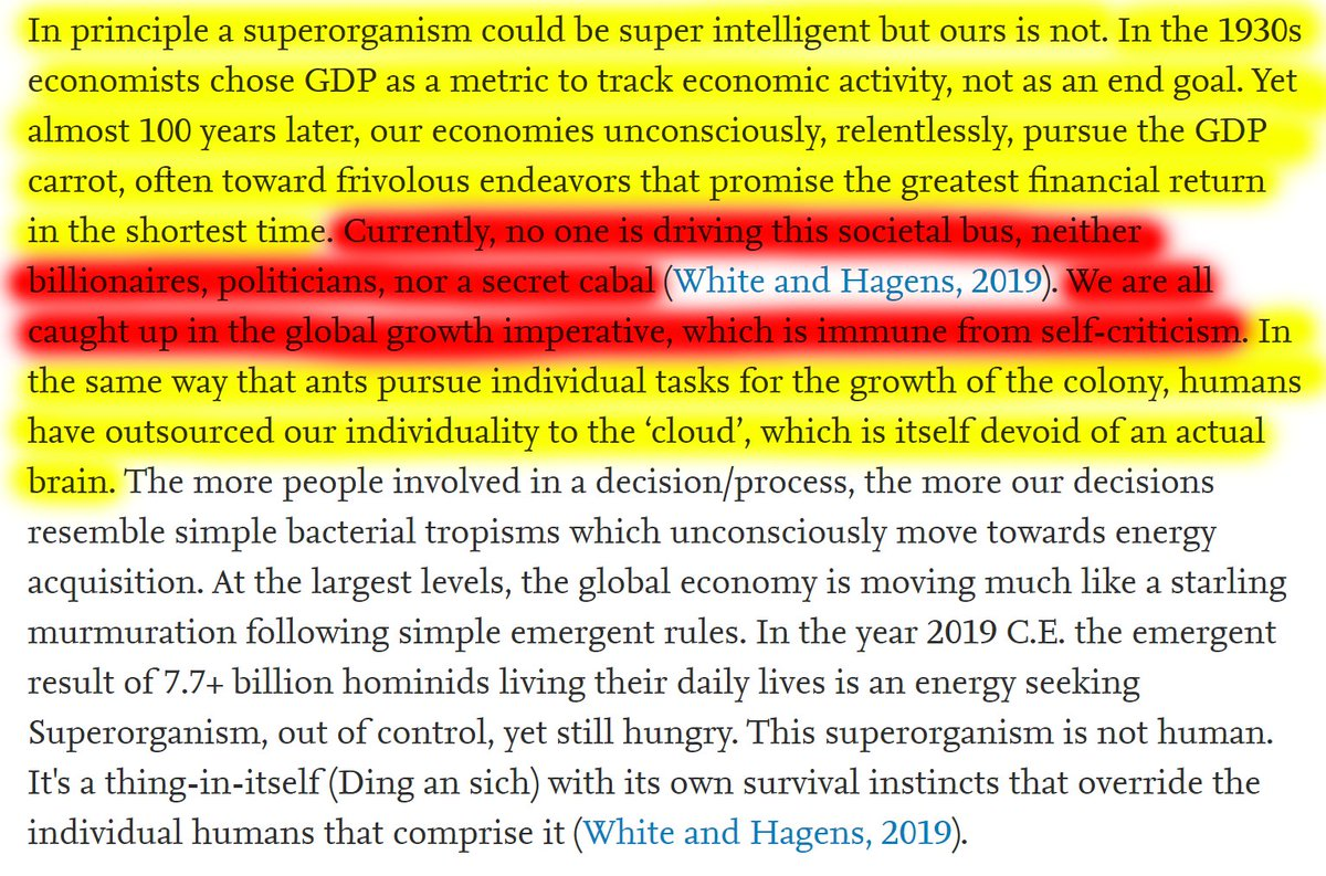 """42/60 """"Currently, no one is driving this societal bus, neither billionaires, politicians, nor a secret cabal. We are all caught up in the global growth imperative, which is immune from self-criticism."""""""