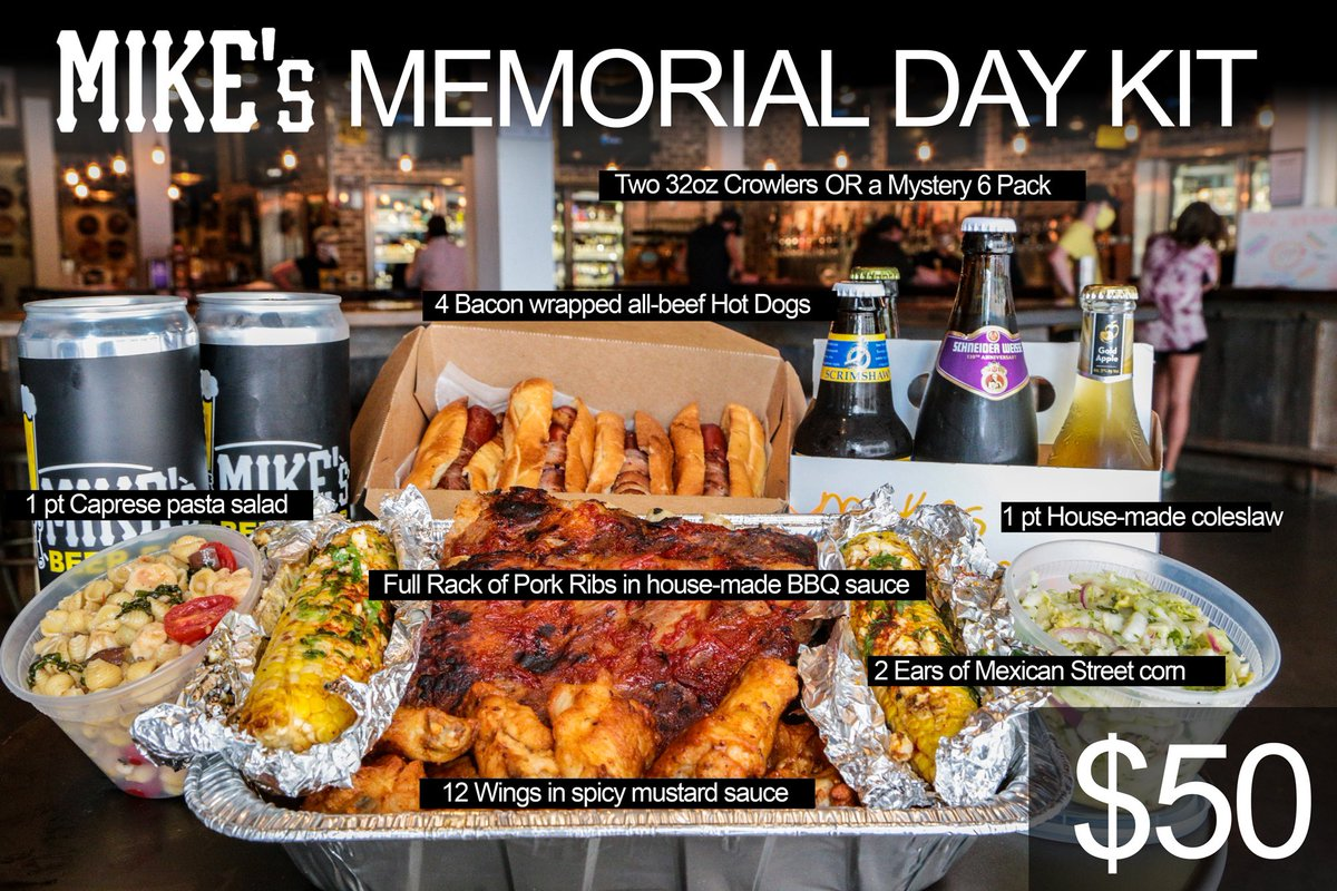 I mean, c'mon...why even bother doing things yourself? Memorial Day Kits available starting tomorrow! Serves four comfortably, or one with gluttonous holiday ambition... #GodBlessAmericaAtMikesb