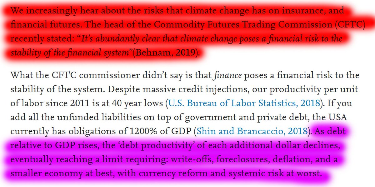 """49/60 """"We increasingly hear about the risks that climate change has on insurance and financial futures. What the CFTC commissioner didn't say is that finance poses a financial risk to the stability of the system."""""""