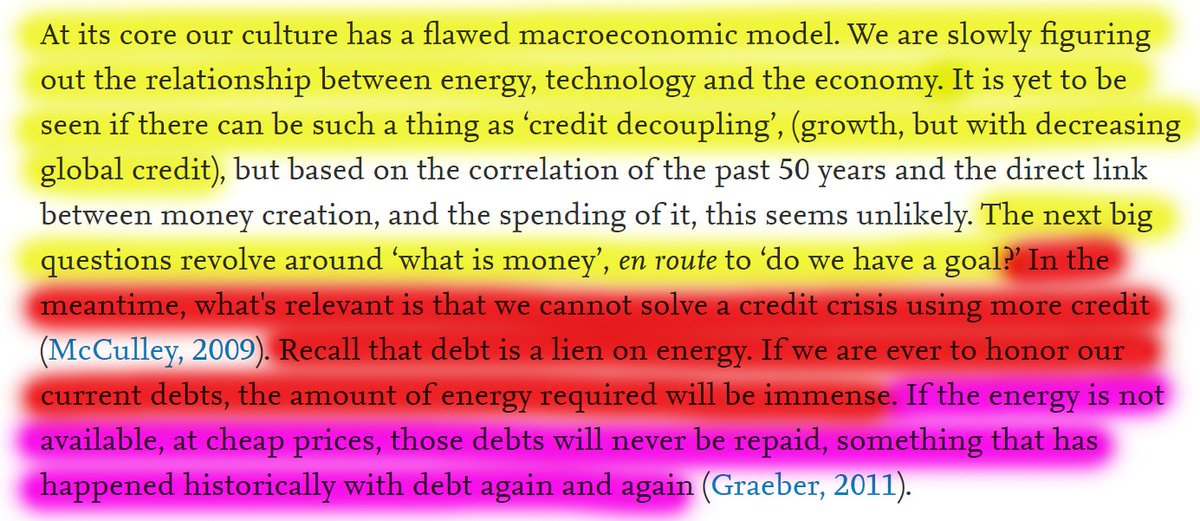"""50/60 """"Recall that debt is a lien on energy. If we are ever to honor our current debts, the amount of energy required will be immense. If the energy is not available, at cheap prices, those debts will never be repaid."""""""