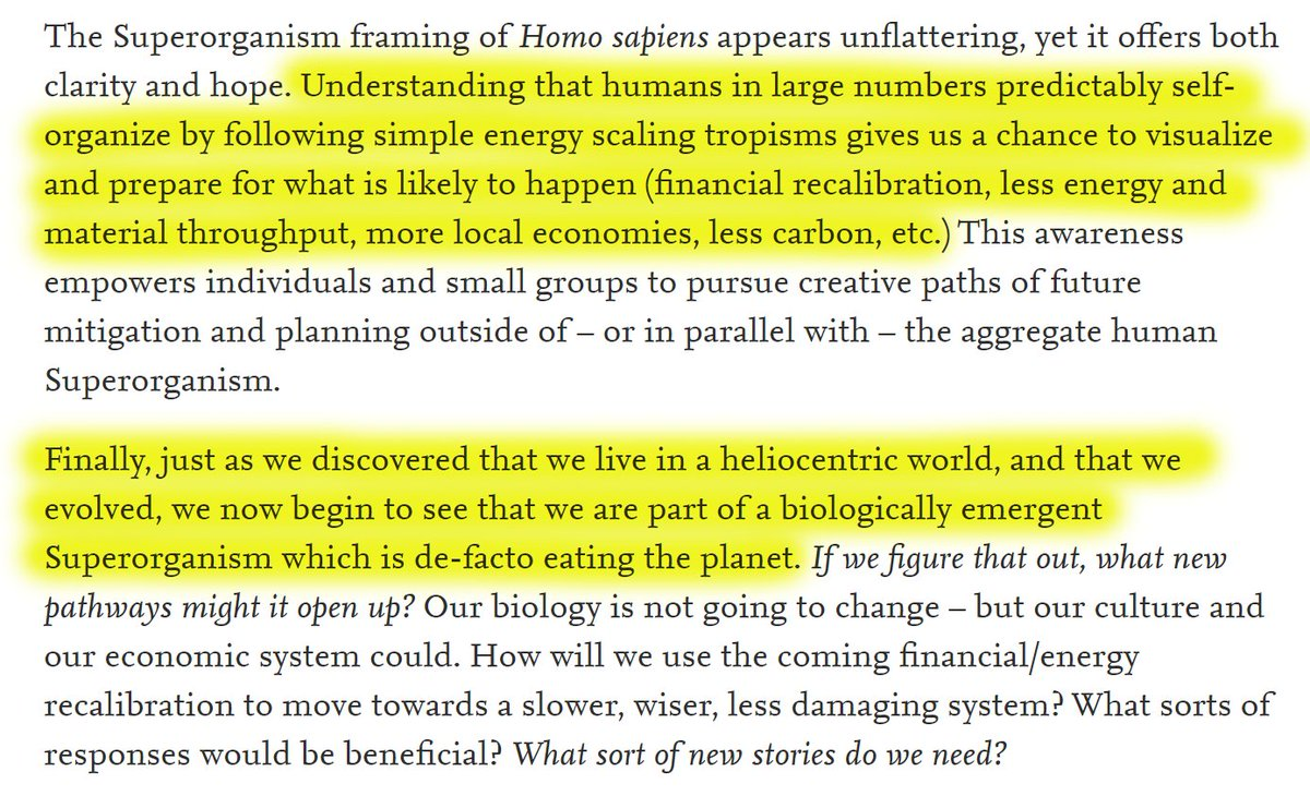"""57/60 """"Understanding that humans in large numbers predictably self-organize by following simple energy scaling tropisms gives us a chance to visualize and prepare for what is likely to happen."""""""