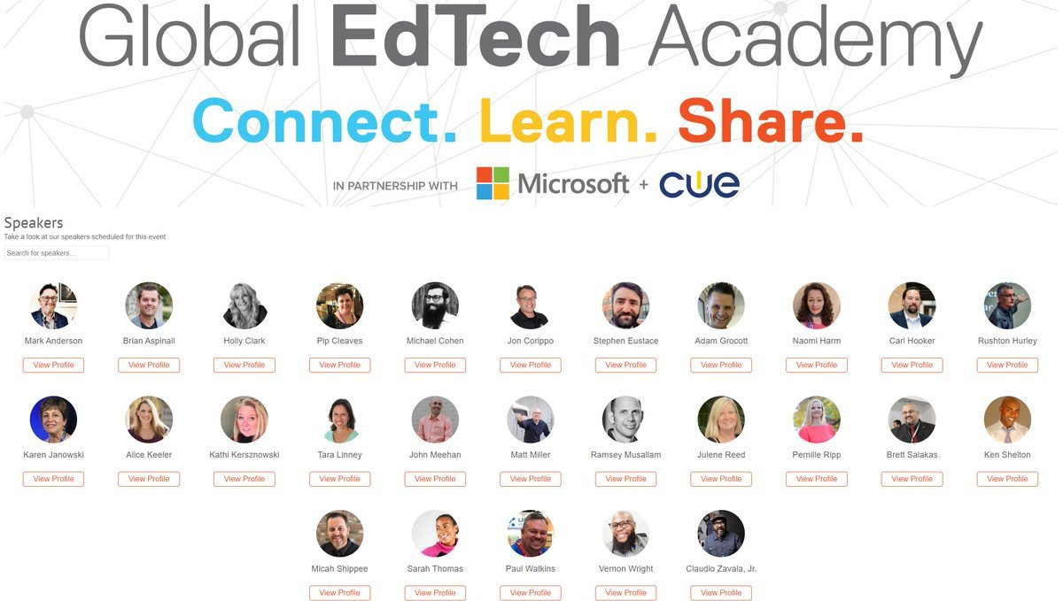 So proud to be working alongside all these amazing educators as part of the Global #Edtech Academy. Were doing office hours for drop-ins, master classes and other sessions too. Choose your sessions and join us: aka.ms/GETAschedule #WeAreCUE #GETA #MIEExpert #MicrosoftEDU