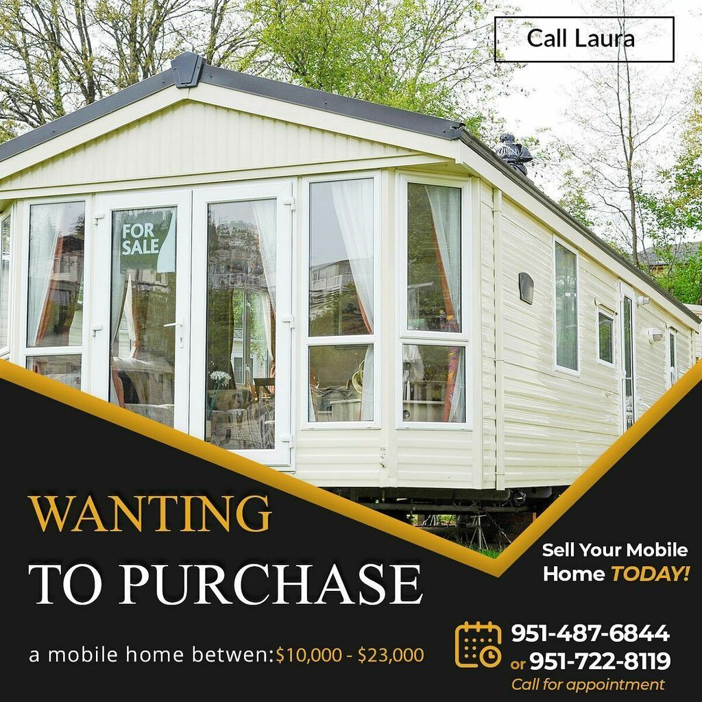 Contact Laura if you have a Mobile Home you'd like to sell from the range of $10,000 - $23,000  #inlandempire #hemet #riverside https://instagr.am/p/CAjIdYjh0V1/pic.twitter.com/x4bE0L0GnF
