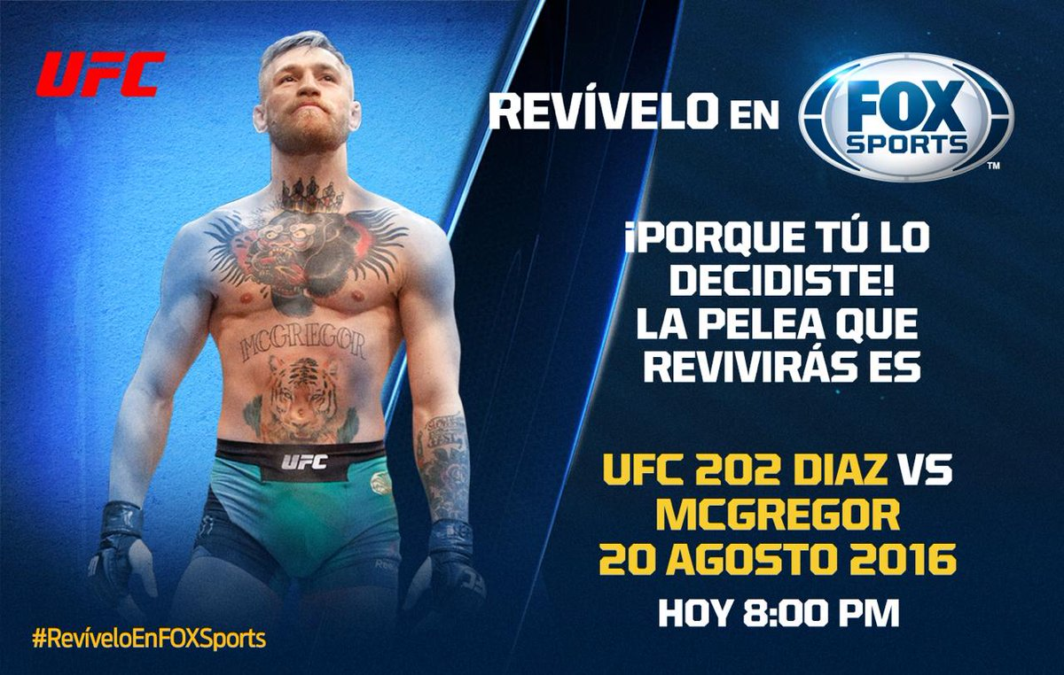 #REVÍVELOenFOXSPORTS   ¡Porque tú lo decidiste, revive la PELEA DE #UFCxFOX DE DÍAZ VS. MCGREGOR!   No te lo pierdas 8:00PM MEX por FOX Sports https://t.co/JPuOY4UEWf