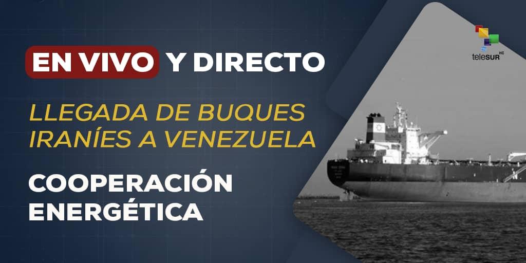 #ÚLTIMOMINUTO | Llega a aguas jurisdiccionales de #Venezuela el primero de los cinco buques cargados con gasolina desde Irán → bit.ly/teleSUR