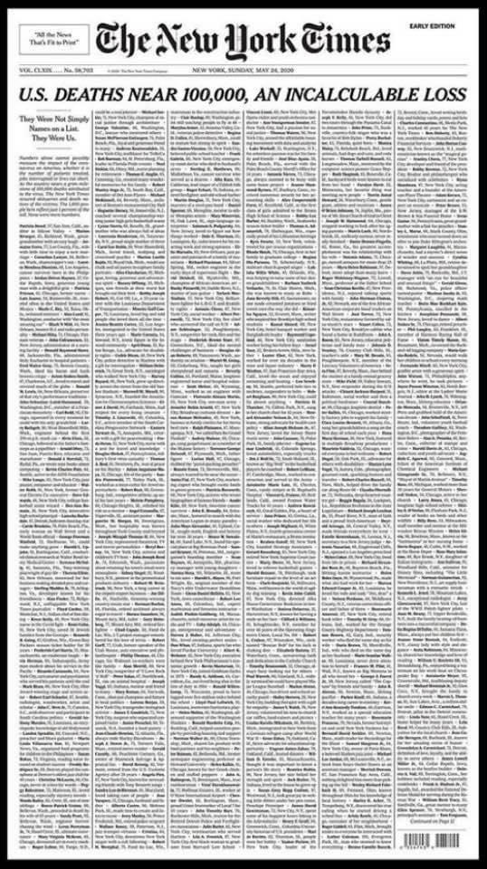 The front page of the @nytimes