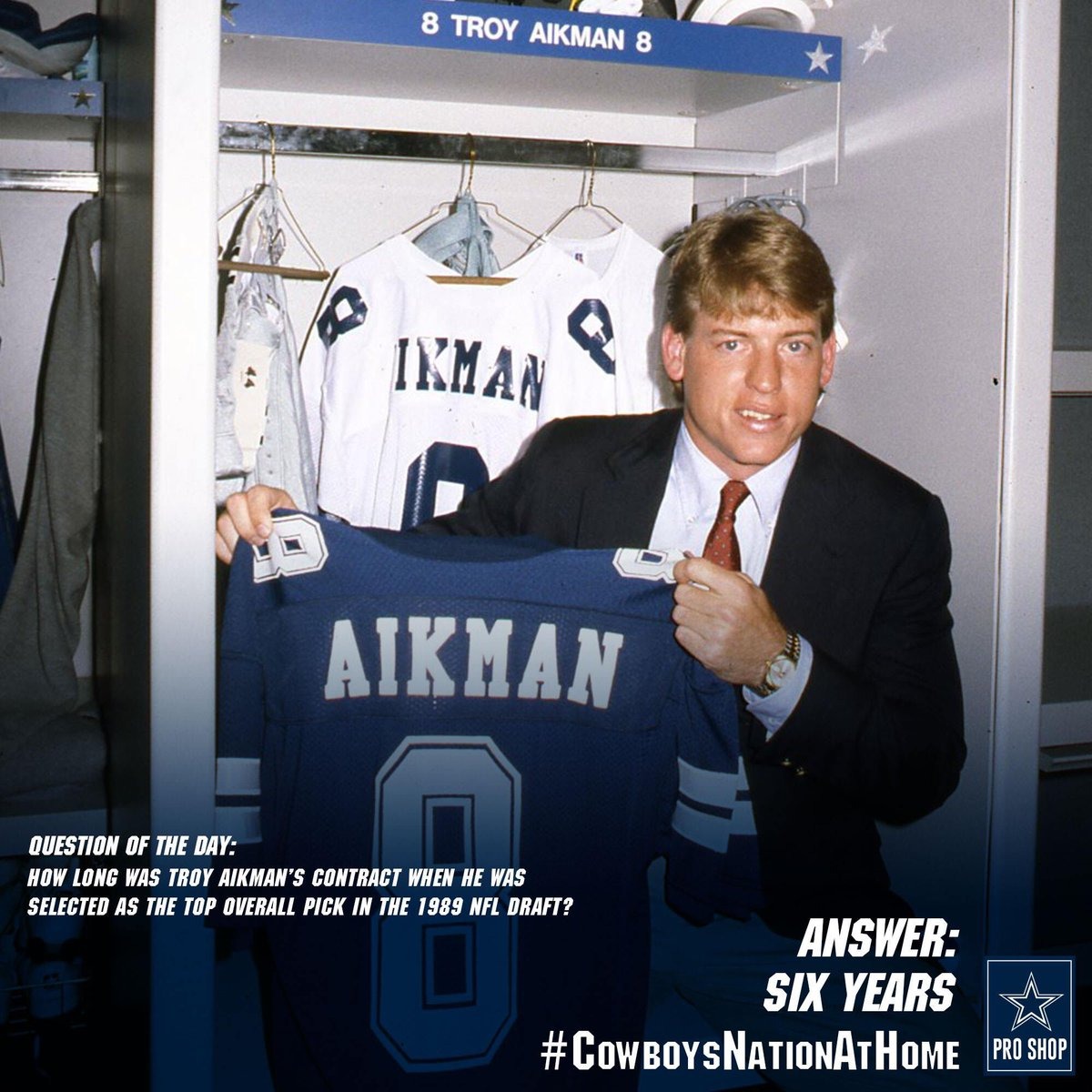 Today's #CowboysNationAtHome Question of the Day: How long was Troy Aikman's first #DallasCowboys contract?  Correct answer: six years!  Did you comment on our tweet earlier today with your best guess? Thanks for playing!  We'll have more #CowboysNation trivia next week! https://t.co/2OjXeSyPUD