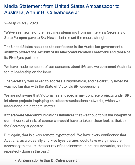 Statement from US Ambassador to Canberra Arthur Culvahouse - in response to reports about Mike Pompeos comments on Victorias Belt and Road agreement