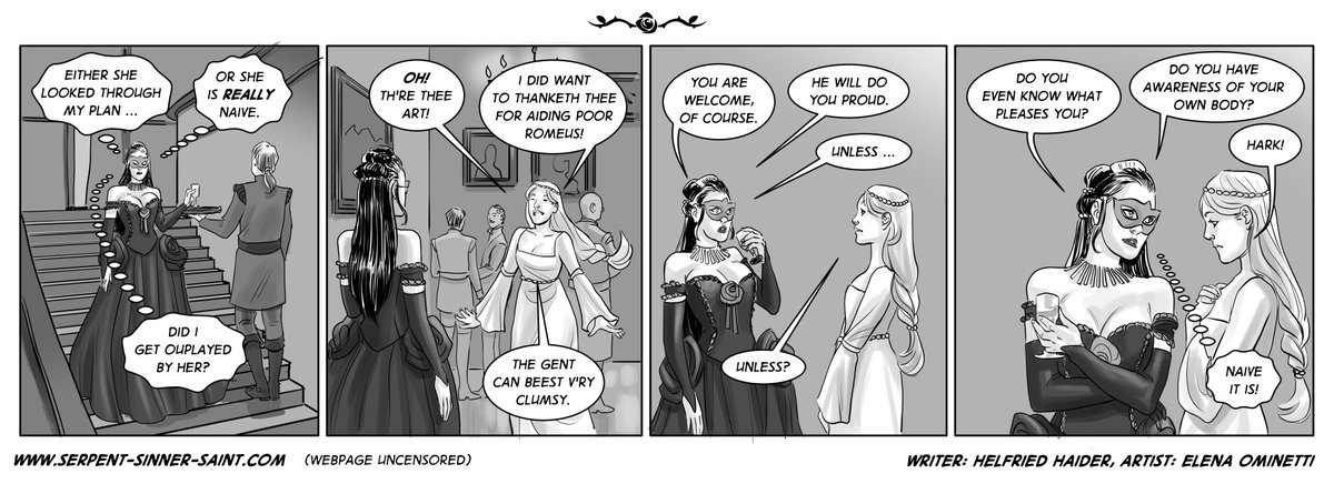 #75 - Thanketh thee, now available on http://serpent-sinner-saint.com #comic #comics #webcomic #webcomicseries #courtesan #courtesans  #humor #funny #indiecomics #indiecomic #cartoon #cartoons   #serpentsinnersaint, written by Helfried Haider and art by Elena Ominettipic.twitter.com/6TBSg1KpHN