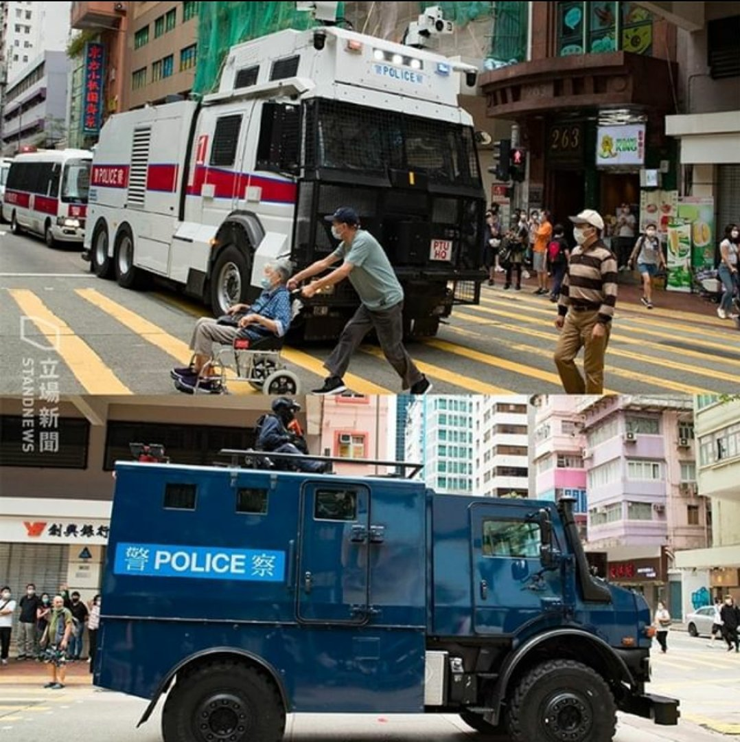 A shocking picture showing two elderlies avoiding the water cannon truck. Armored vehicle with terrorist on top arrived afterwards. #HKPoliceTerrorists #HKpolice #HKPoliceState #Soshk #StandWithHongKong @SecPompeo @HawleyMO @SolomonYue @lukedepulford @benedictrogers #黑警 #警暴pic.twitter.com/l0udfgNWoX