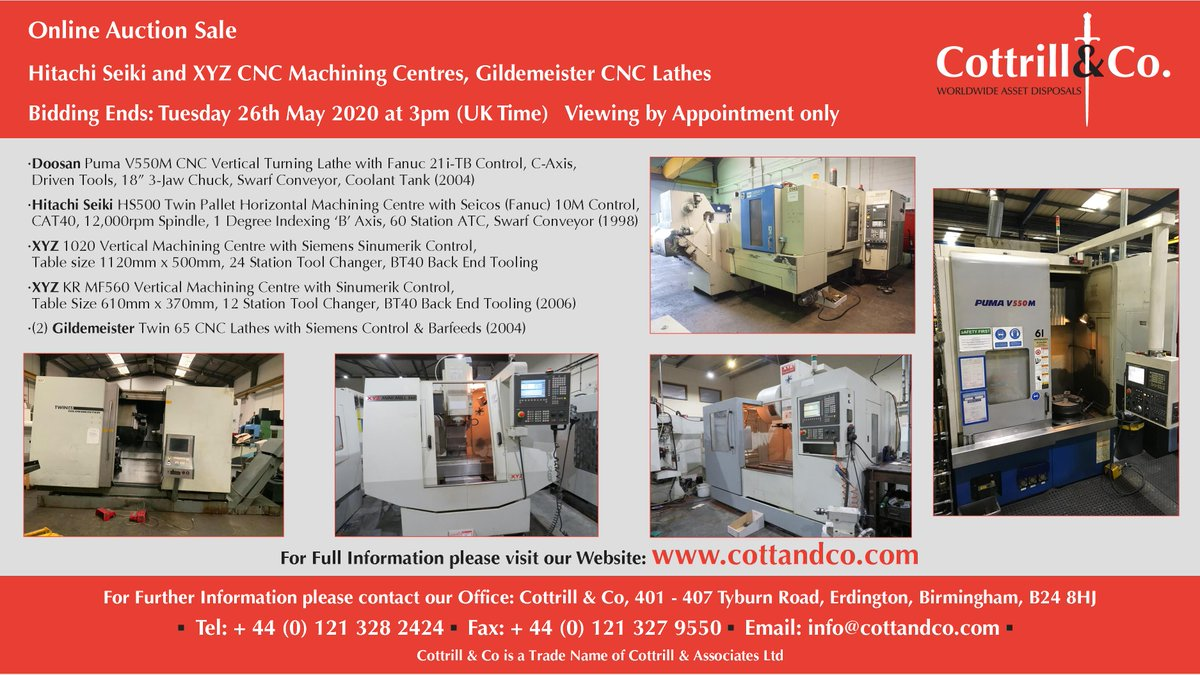 Online #Auction Sale - 26 May 2020 - Hitachi Seiki and XYZ CNC Machining Centres, Gildemeister CNC Lathes  #cnc #UKmfg #EngineeringUK #usedmachines #ManufacturingUK #manufacturing #engineering  Link to Auction: https://www.cottandco.com/en/lots/auction/2876---bridgeport-hitachi-seiki-and-xyz-cnc-machining-centres-gildemeister-cnc-lathes …pic.twitter.com/Rz5uUfi1es