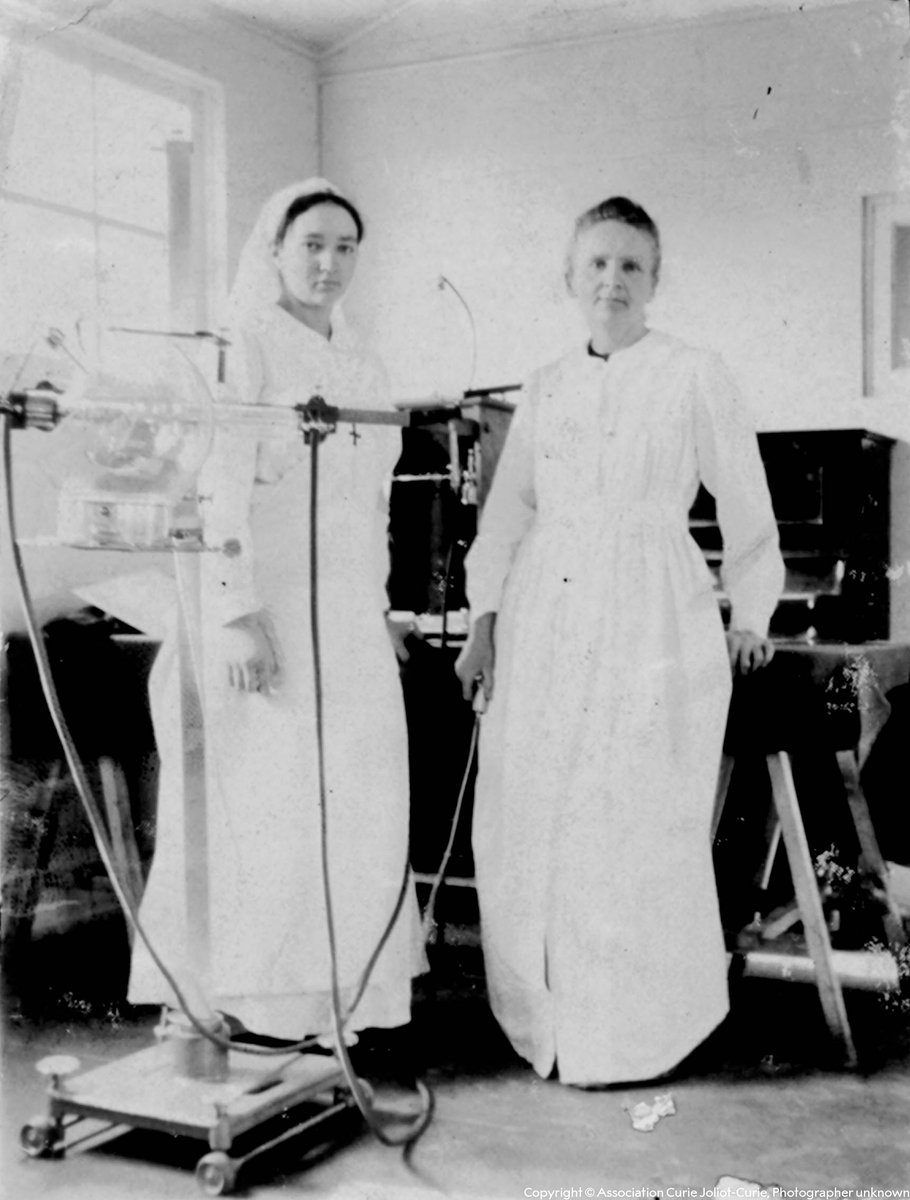 As a young woman during World War I, Irène Joliot-Curie (left) worked with her mother Marie Curie (right) to provide mobile X-ray units for wounded soldiers.  Irène later shared the 1935 #NobelPrize in Chemistry with her husband Frédéric Joliot. https://t.co/YmKmzuRuwq