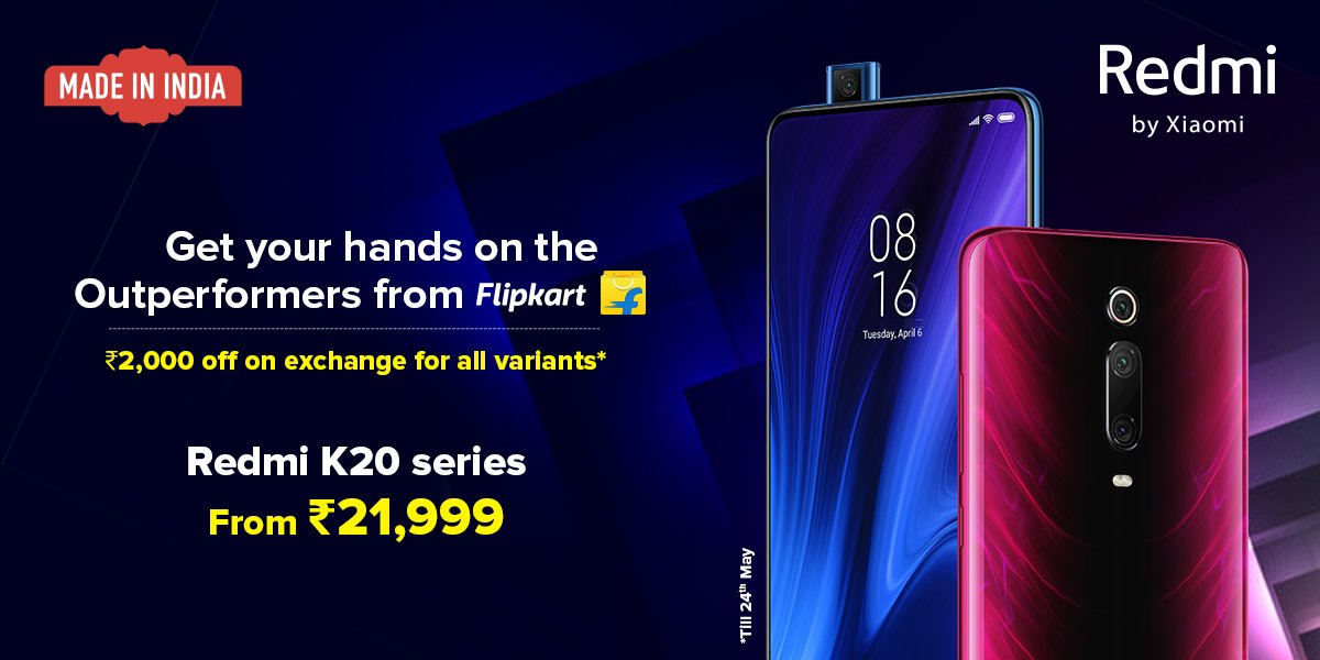 This deal's on fire!  Last day to avail #RedmiK20Pro and #RedmiK20 with ₹2000 off on exchange.  Claim this deal exclusively from @Flipkart!    Shop now: http://bit.ly/k2000fk pic.twitter.com/mkdR4jY4wX
